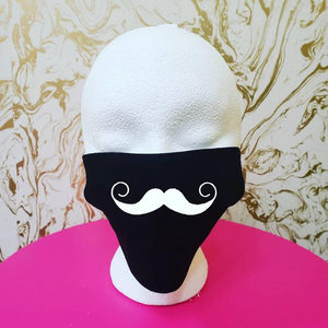 "Handmade ""Handlebar Mustache"" Black Moisture Wicking Highly-Breathable Face Mask (mustache color can be customized)"