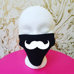 "Handmade ""Imperial Mustache"" Black Moisture Wicking Highly-Breathable Face Mask (mustache color can be customized)"