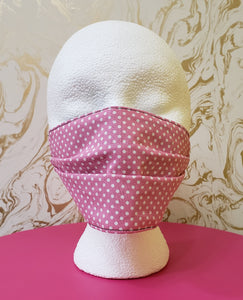Baby Pink Polka Dot Filtered Face Mask - 3 Layers with Built in Filter - Kids