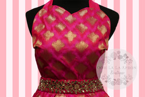 Bollywood Glam -Pink & Gold Couture Hostess Apron