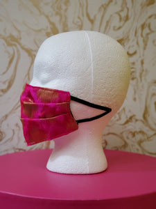 Bollywood Glam Couture Fashion Mask - Hot Pink and Gold Face Mask - Adults