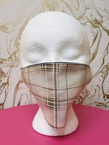 Handmade White & Tan Plaid Cloth Face Mask - Adults