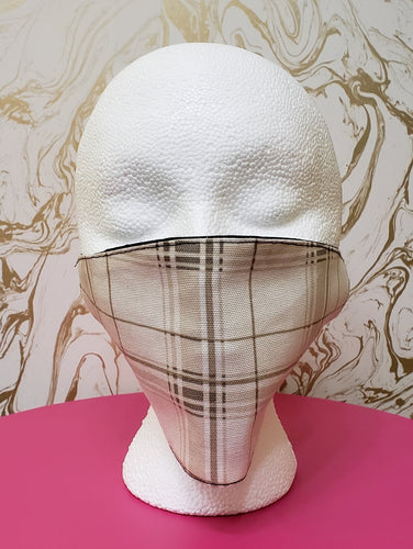 Handmade White & Tan Plaid Cloth Face Mask - Kids