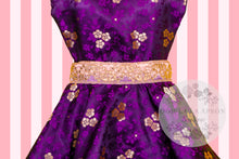 Load image into Gallery viewer, Bollywood Glam - Purple & Gold Couture Hostess Apron