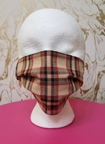 Red & Tan Plaid Filtered Face Mask - 3 Layers with Built in Filter - Kids