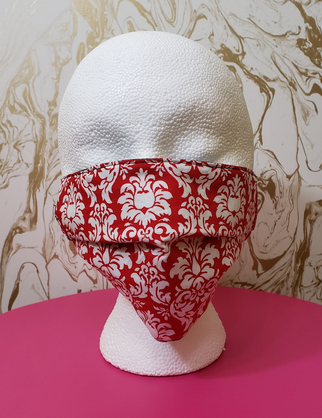 Red & White Damask Filtered Face Mask - 3 Layers with Built in Filter - Kids