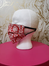 Load image into Gallery viewer, Red & White Damask Filtered Face Mask - 3 Layers with Built in Filter - Kids