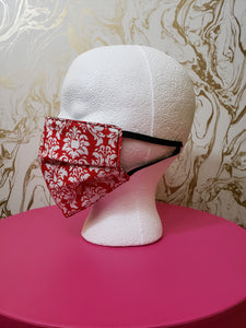 Red & White Damask Filtered Face Mask - 3 Layers with Built in Filter - Adults