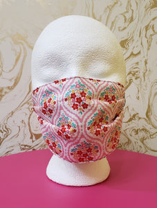 Pink Spring Flowers Filtered Face Mask - 3 Layers with Built in Filter - Kids