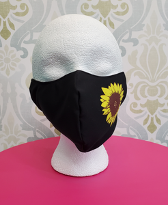 *NEW* Moisture-Wicking Deluxe Sunflower Black Cloth Face Mask - Highly-Breathable - Adults