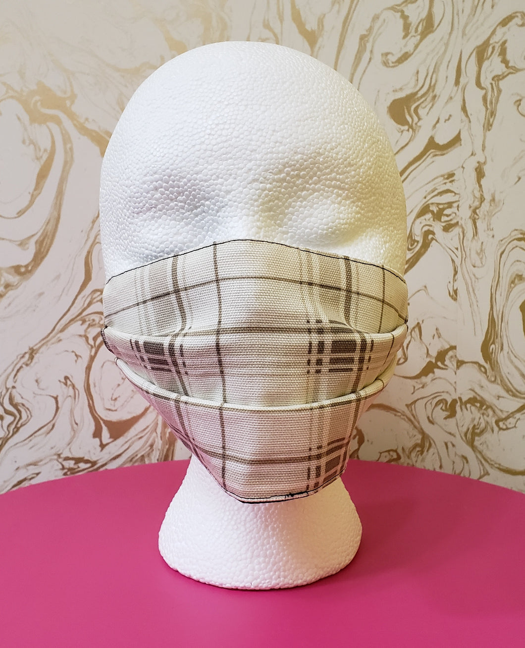 White & Tan Plaid Filtered Face Mask - 3 Layers with Built in Filter - Kids