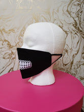 "Load image into Gallery viewer, Handmade ""Teeth"" Black Moisture Wicking Highly-Breathable Face Mask"