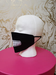 "Handmade ""Teeth"" Black Moisture Wicking Highly-Breathable Face Mask"