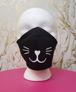 Deluxe Black Cloth Cat Whiskers Moisture Wicking Highly-Breathable Face Mask
