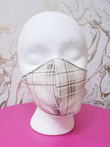 Deluxe White/Tan Plaid Cloth Face Mask - Adults