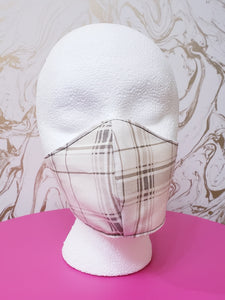 Deluxe White/Tan Plaid Cloth Face Mask - Kids