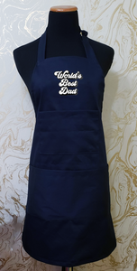 "Chef's Bib Apron ""World's Best Dad"" - Various Colours Available"