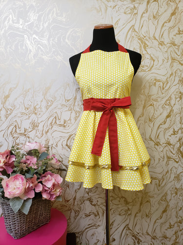 Yellow and White Polka Dot Hostess Apron