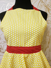 Load image into Gallery viewer, Yellow and White Polka Dot Hostess Apron