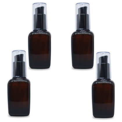 shoprythmindia Packaging MYOC 4Pcs Amber Square Glass Lotion Bottle Lotion Containers with Black Pump Head and Cap Empty Sample Containers Travel Vials Dispenser Jars Pots for Lotion Emulsion Foundation 50ml/1.7oz