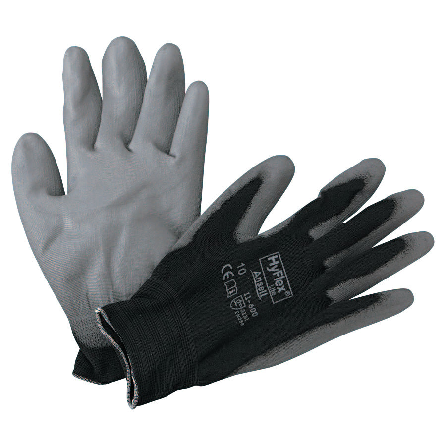 Ansell HyFlex Lite Gloves Black/Gray (dozen)
