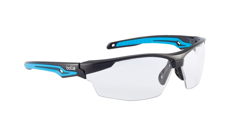 Bolle Tryon Series Safety Glasses, Clear Lens, Anti-Fog/Anti-Scratch, Black/Blue Temple (each)