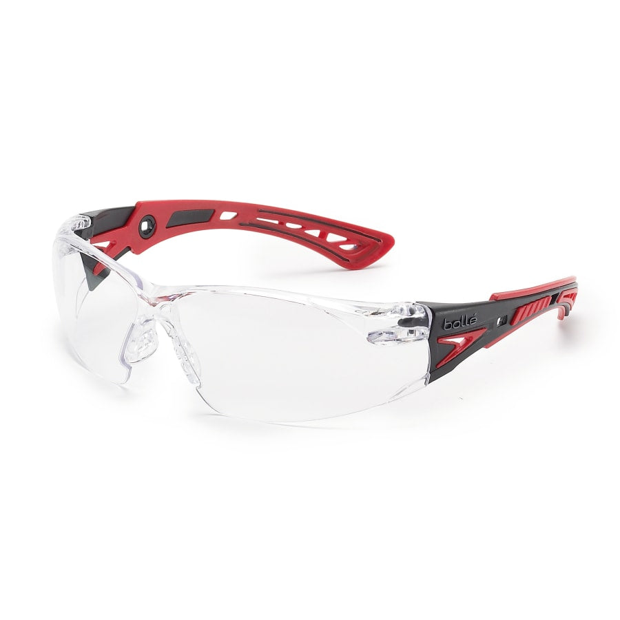 Bolle Rush+ Series Safety Glasses, Clear Lens, Anti-Fog/Anti-Scratch, Gray/Red Temple (each)