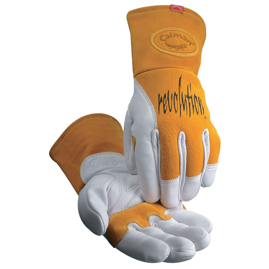 Caiman MIG/Multi-Task Welding Gloves, Cow Grain Leather/Pigskin, White/Tan (pair)