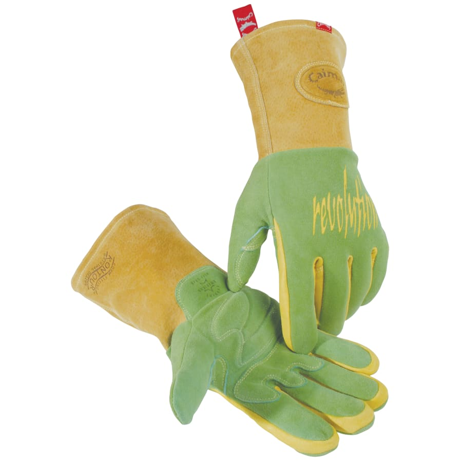 Caimen Revolution Welding Gloves, American Deerskin Leather, Green/Gold (pair)