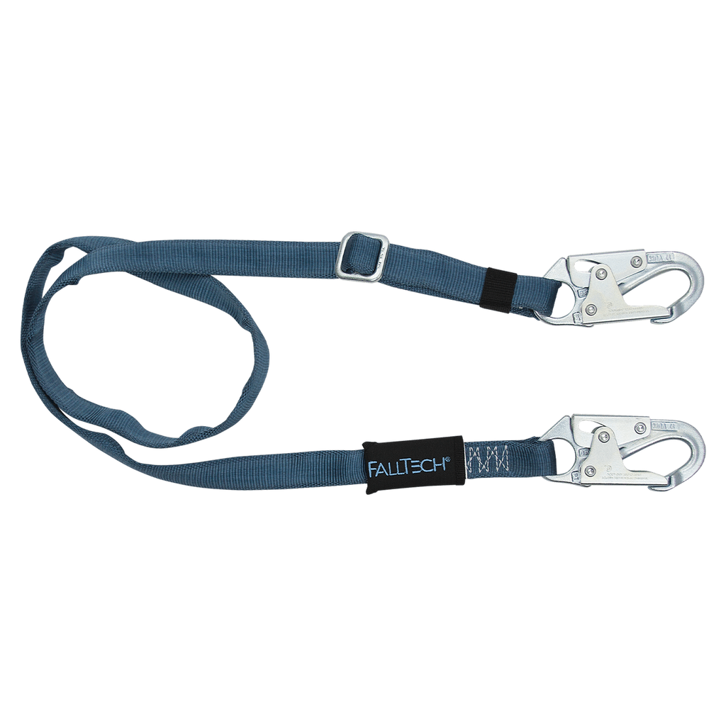 FallTech 820912 7' to 12' Adjustable Length Restraint Lanyard with Steel Snap Hooks (each)
