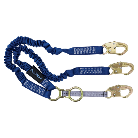 FallTech 8240Y2D 4½' to 6' ElasTech® Energy Absorbing Lanyard, Double-leg with SRL D-ring and Steel Snap Hooks (each)