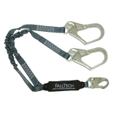 FallTech 8256ELY3 4½' to 6' ViewPack® Elastic Energy Absorbing Lanyard, Double-leg with Steel Connectors (each)