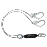 FallTech 8357Y3 6' ViewPack® Coated Cable Energy Absorbing Lanyard, Double-leg with Steel Connectors (each)