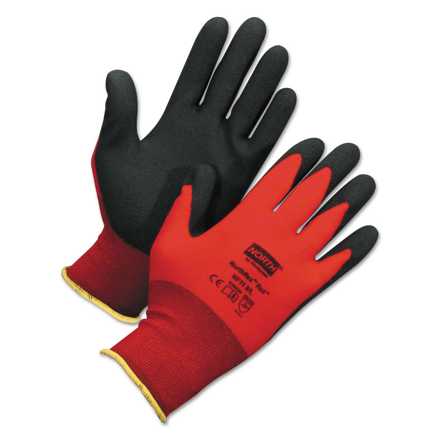 Honeywell NorthFlex Red Foamed PVC Palm Coated Gloves, Red (dozen)