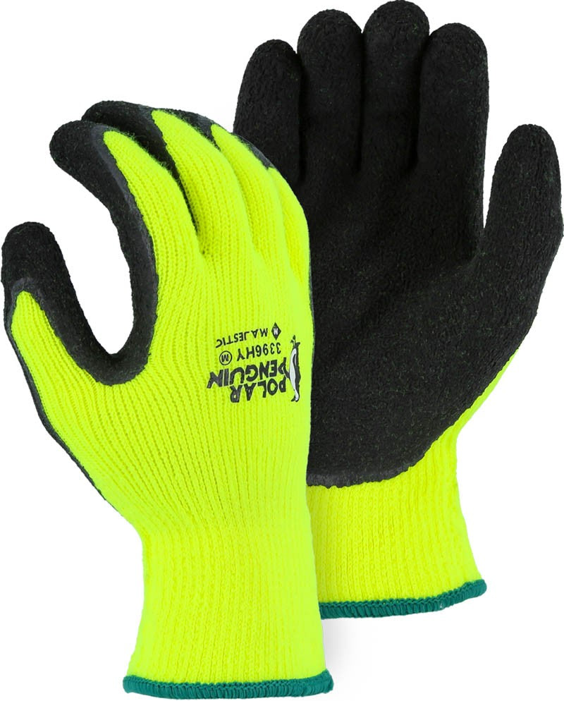 Majestic Polar Penguin Winter Lined Napped Terry Glove with Foam Latex Dipped Palm, Cut A2 (dozen)
