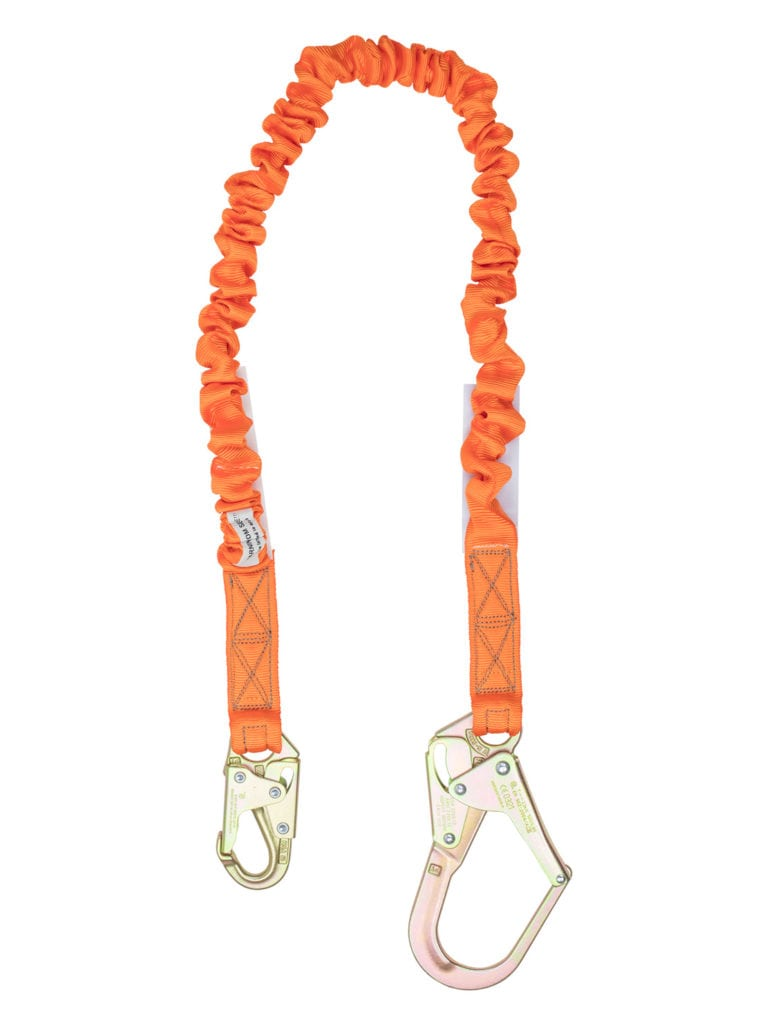 Malta Dynamics 4.5′ – 6' Single Leg Stretch Internal Shock Absorbing Lanyard with 1 Rebar Hook and 1 Steel Snap Hook (each)