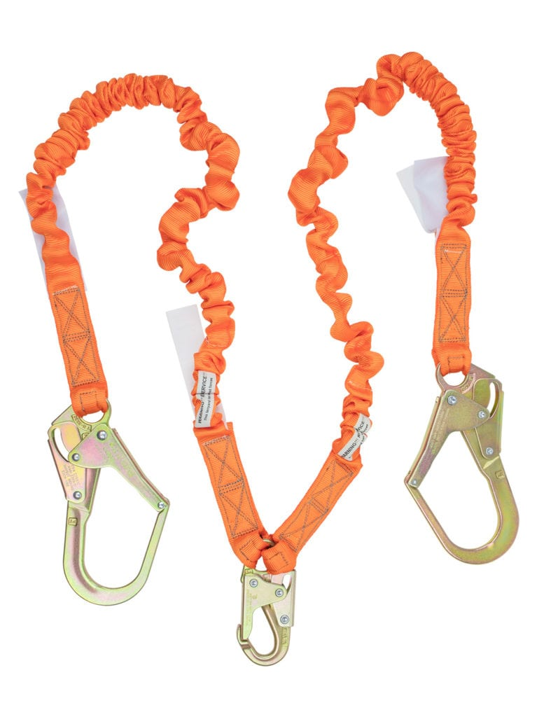 Malta Dynamics 4.5′ – 6' Double Leg Stretch Internal Shock Absorbing Lanyard with 2 Rebar Hooks and 1 Steel Snap Hook (each)
