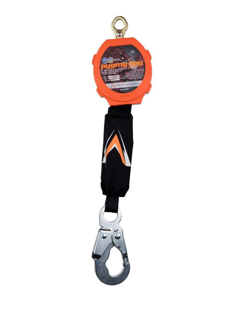Malta Dynamics Pygmy Hog 11′ Web Self-Retracting Lifeline with Steel Snap Hook (each)
