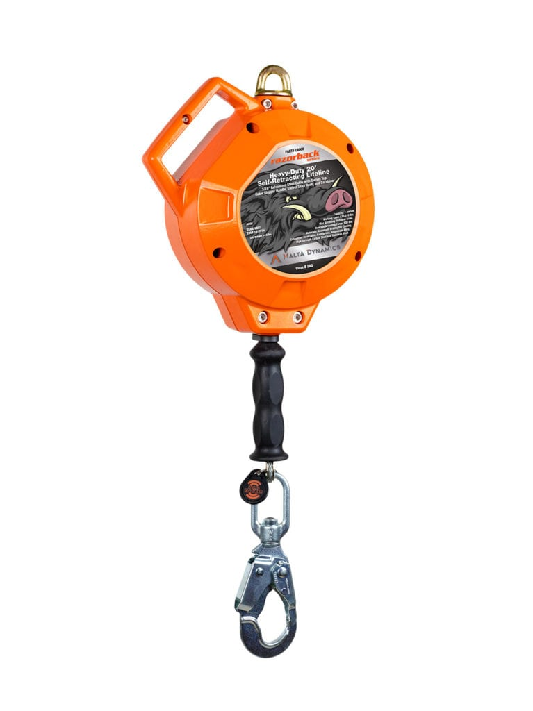 Malta Dynamics Razorback™ Heavy-Duty 20′ Self-Retracting Lifeline (each)