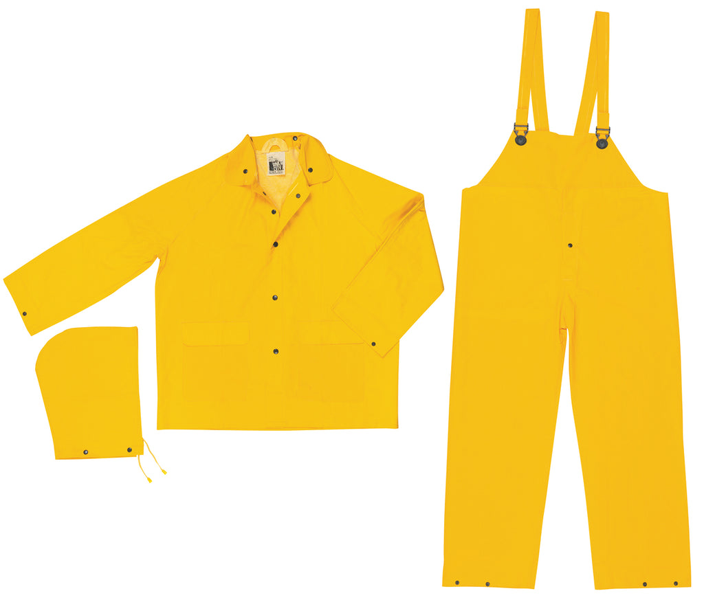 MCR Safety Classic, .35mm PVC/Polyester 3 pc suit, Detachable Hood, Snap Front Jacket & Bib Pant, Yellow (each)