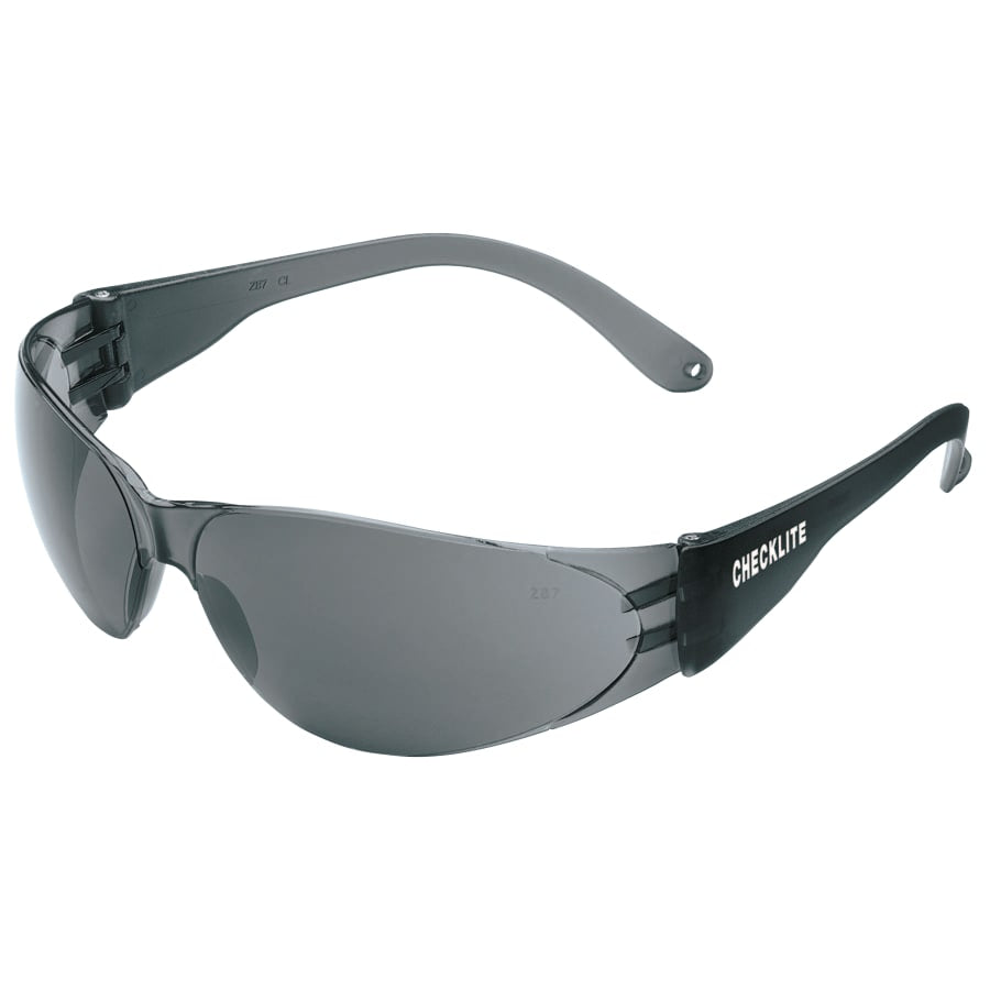 MCR Safety Crews Checklite Safety Glasses, Gray Lens, Scratch-Resistant, Smoke Frame (dozen)
