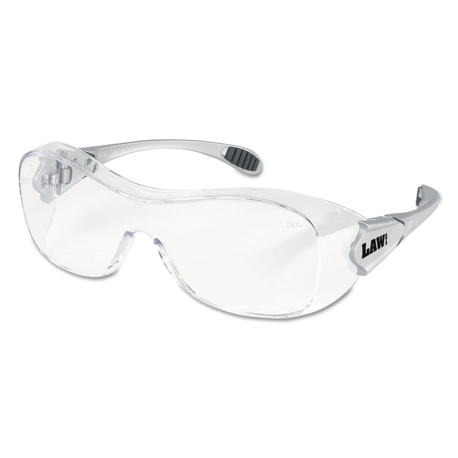 MCR Safety Crews Law OTG Protective Eyewear, Clear Lens, Polycarbonate, Anti-Fog, Silver Frame (dozen)