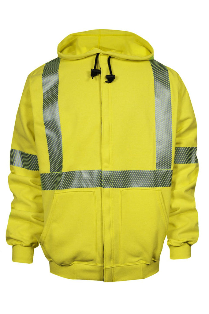 National Safety Apparel Vizable FR Hi-Vis Zip Front Sweatshirt, Type R Class 3, 20 cal/cm² (each)