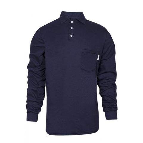 National Safety Apparel 100% FR Cotton Long Sleeve Polo, 8.9 cal/cm² (each)