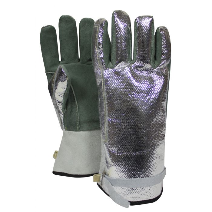 "National Safety Apparel Carbon Armour Aluminized Leather Glove, Adjustable Strap, 13"" (pair)"