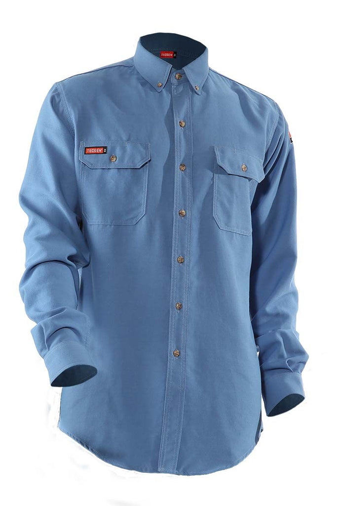 National Safety Apparel Tecgen FR Premium Vented Shirt, Medium Blue, 8.9 cal/cm² (each)