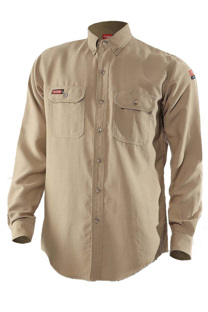 National Safety Apparel Tecgen FR Premium Vented Shirt, Khaki, 8.9 cal/cm² (each)