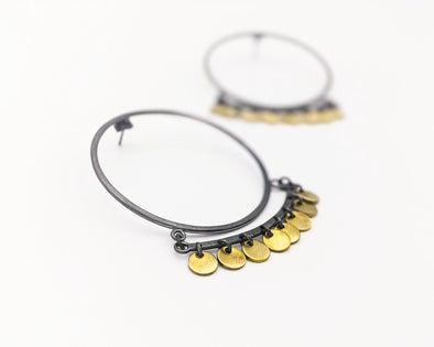 Bali Hoop Earrings in Sterling Silver and Brass