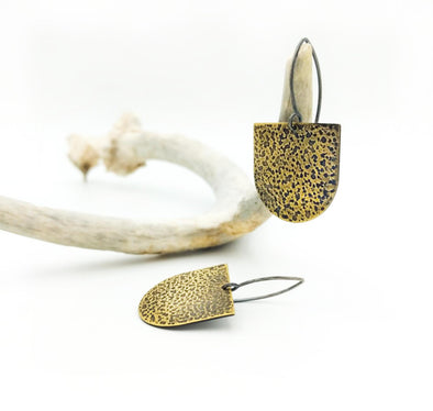 Brass Embossed Earrings -Danni Earrings in Mixed Metal