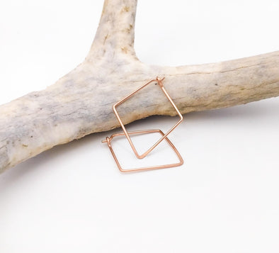 Diamond Mini Hoops in 14k Rose Gold - Small Minimalist Lightweight Hoop Earrings